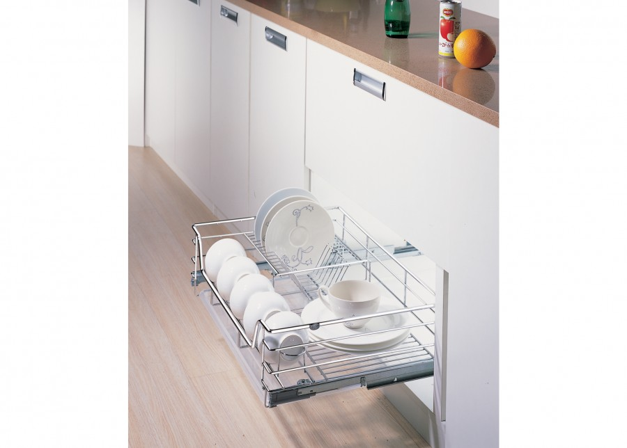 Soft closing plate rack drawer full extension
